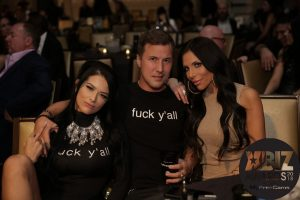 Katrina Jade, Jessy Jones and Jaclyn Taylor say 'fuck y'all'. 'F@ck y'all' Shirts at 2018 Xbiz Awards Honor August Ames, Protest Jessica Drake