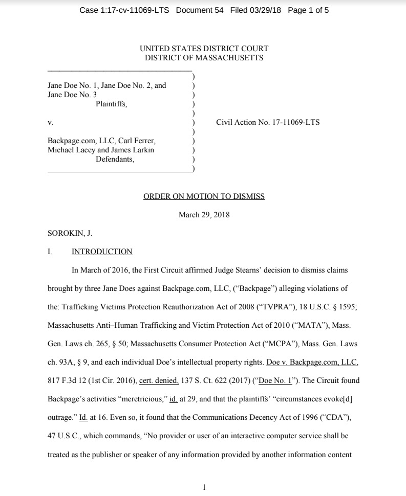 Proof that FOSTA-SESTA is a SCAM: Massachusetts Fed. Court Allows Trafficking Case to Proceed Against Backpage