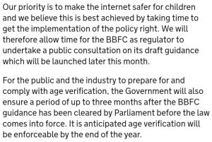 U.K. Delays Implementation of Internet Age Verification Scheme