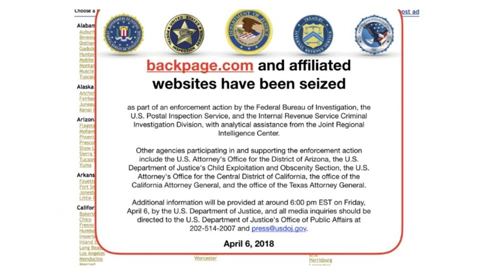 Once again, FOSTA proves a scam: Backpage.com seized by U.S. Justice Department