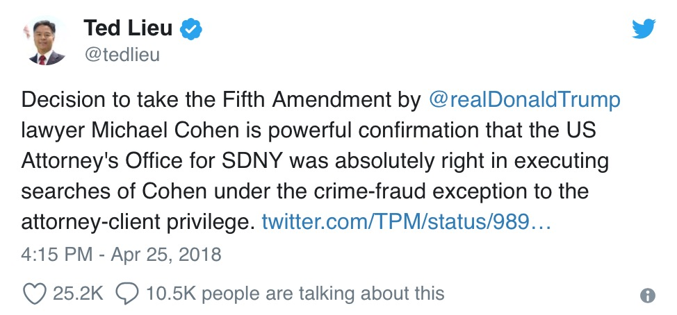 Political hack thinks taking the Fifth is incriminating