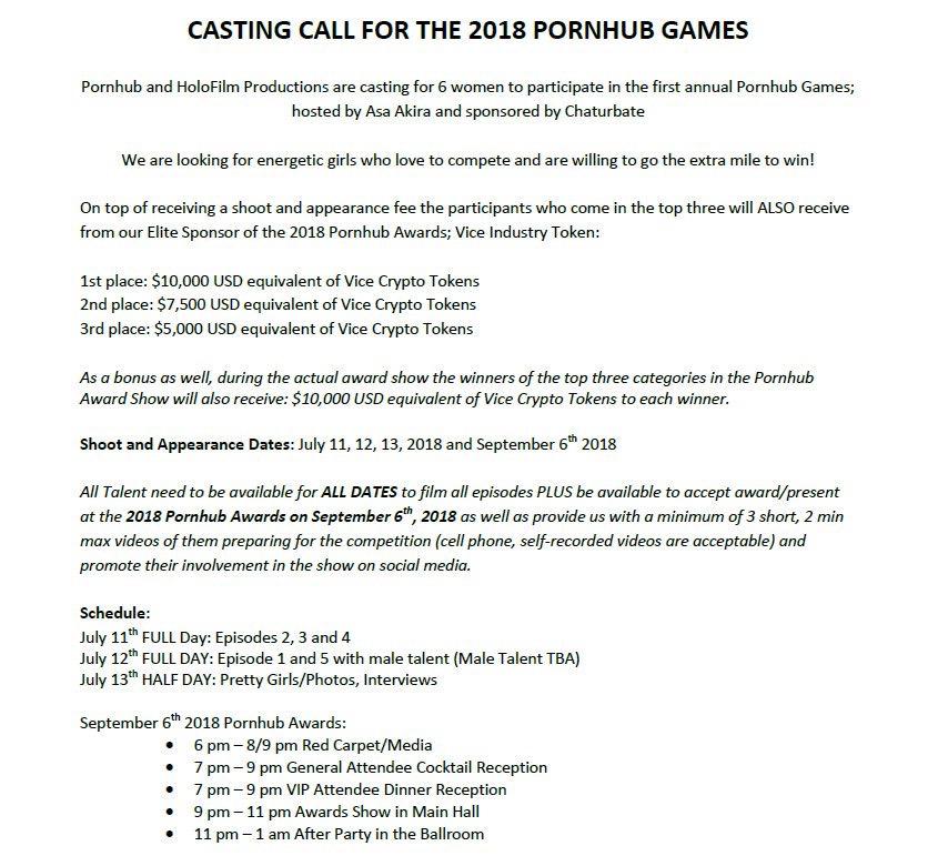 CASTING CALL: The Pornhub Games