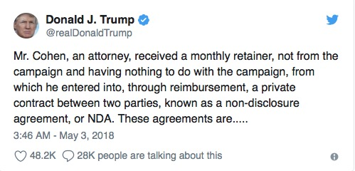 Trump: Cohen was repaid for $130k transfer to Stormy Daniels out of retainer
