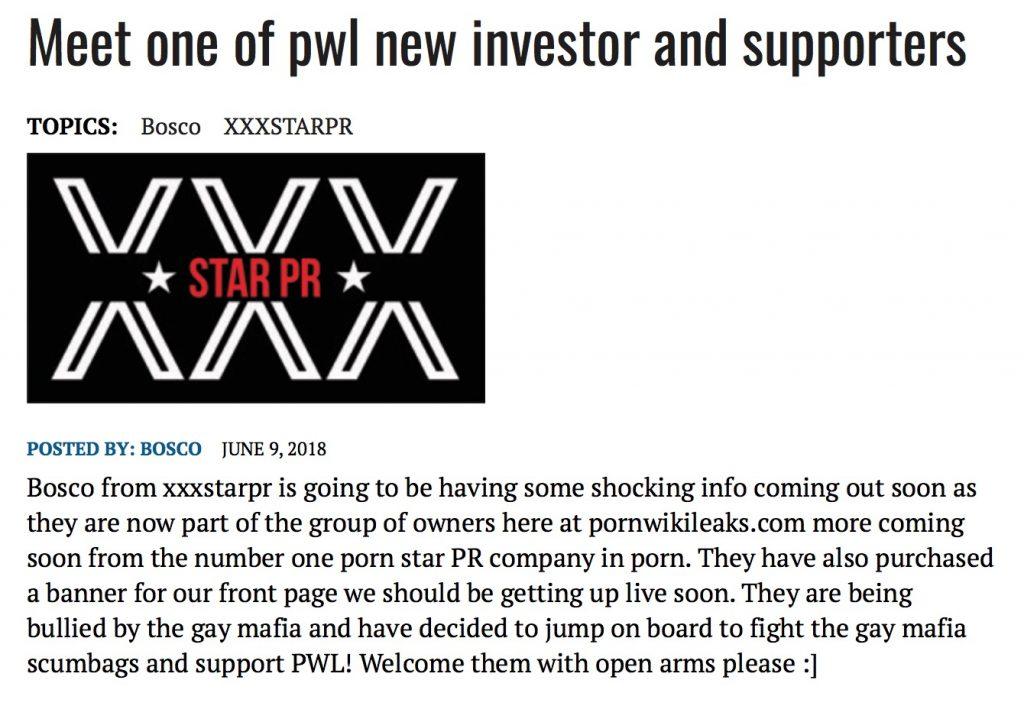 Bosco of XXX Star PR supports PWL