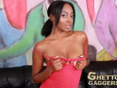 Stunning Ebony Model Has Her First DP at GhettoGaggers.com