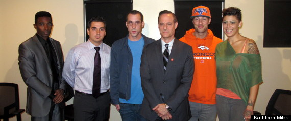 Left to right: Darren James, Derrick Burts, Patrick Stone, AIDS Healthcare Foundation president Michael Weinstein, Rod Daily and Cameron Bay