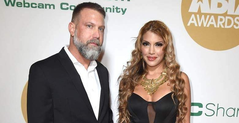 Mercedes Carrera and Jason Whitney pictured together in 2018 at the XBiz Awards.